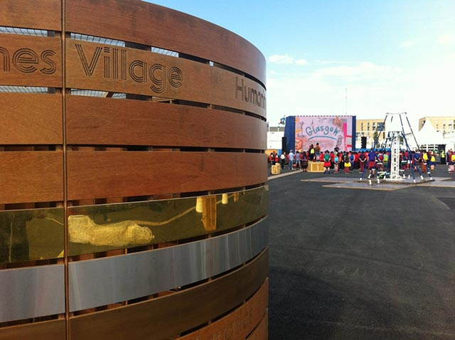 large wooden display for commonwealth games