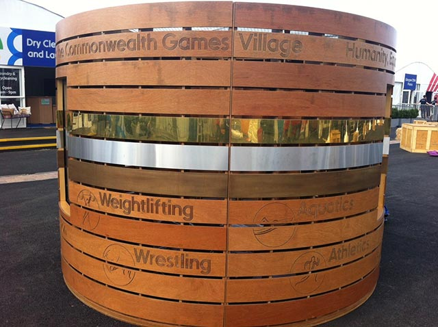 large wooden display for the commonwealth games