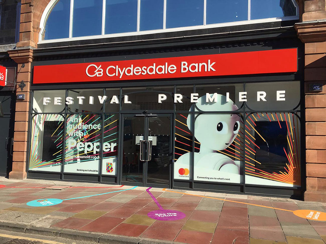 clydesdale bank in Edinburgh with floorgraphics