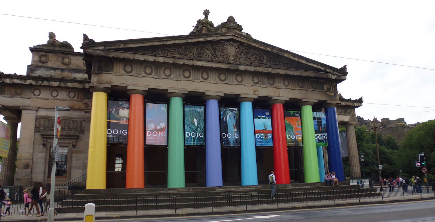 outside the Scottish national gallery in Edinburgh, the pillars are all different colours