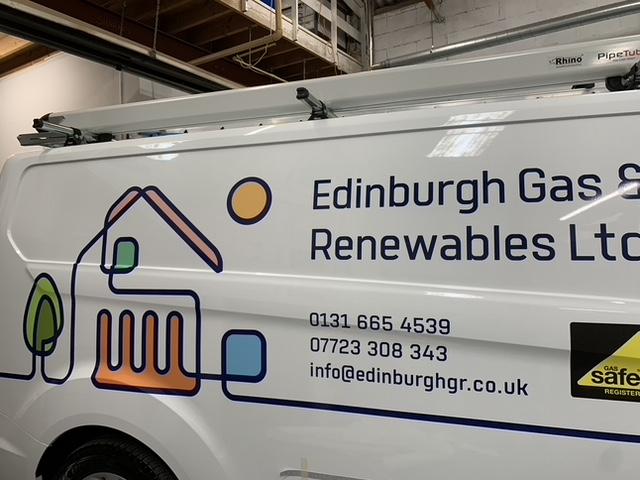 edinburgh gas and renewables ltd signage on van