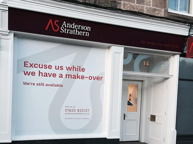 Anderson Strathern the lawyers office window