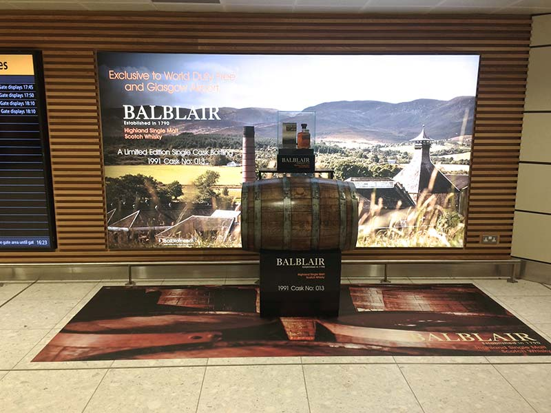balblair display with a whisky barrel centrepiece