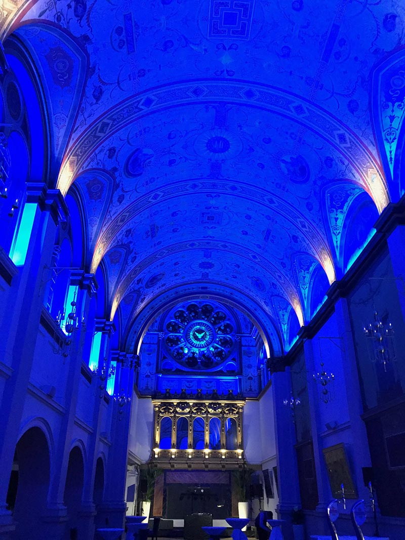 interior of a church with blue lighting