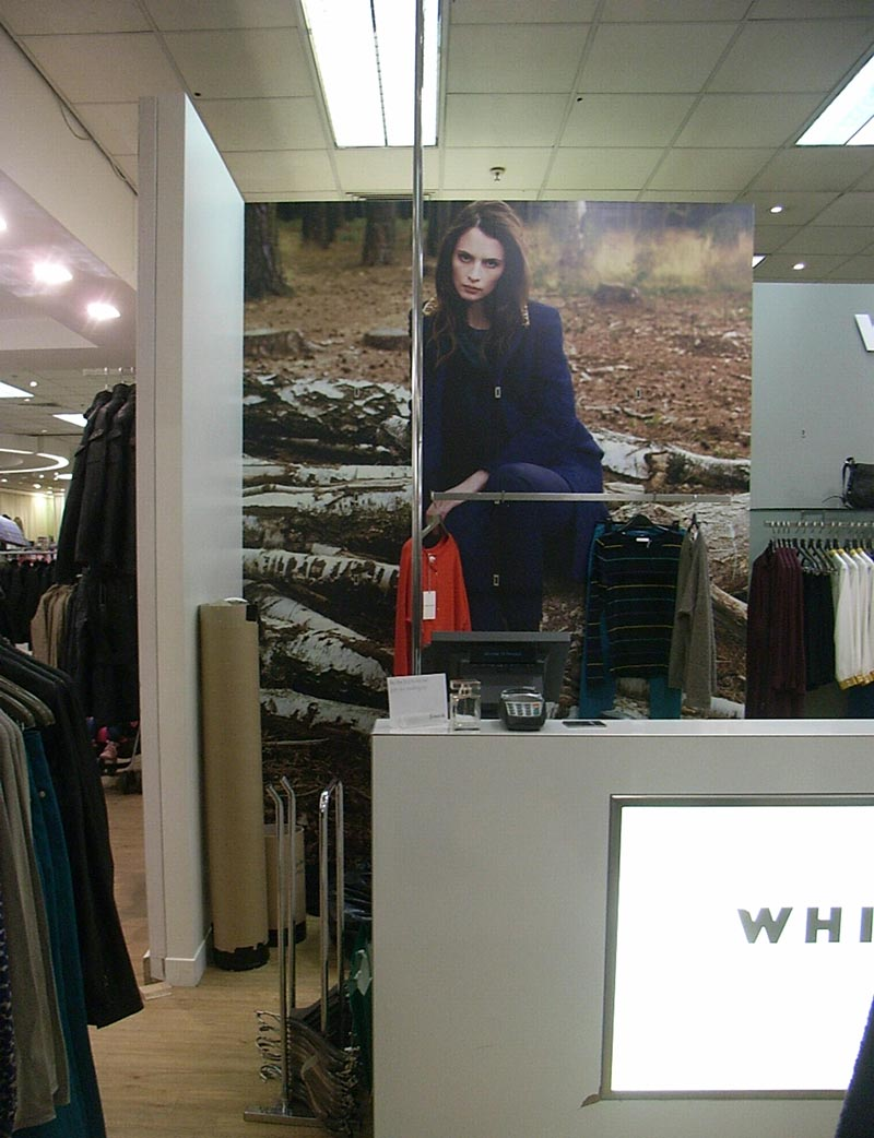 woman in fashionable clothes picture in a retail outlet