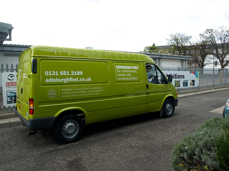 side of edinburgh first green van with new livery