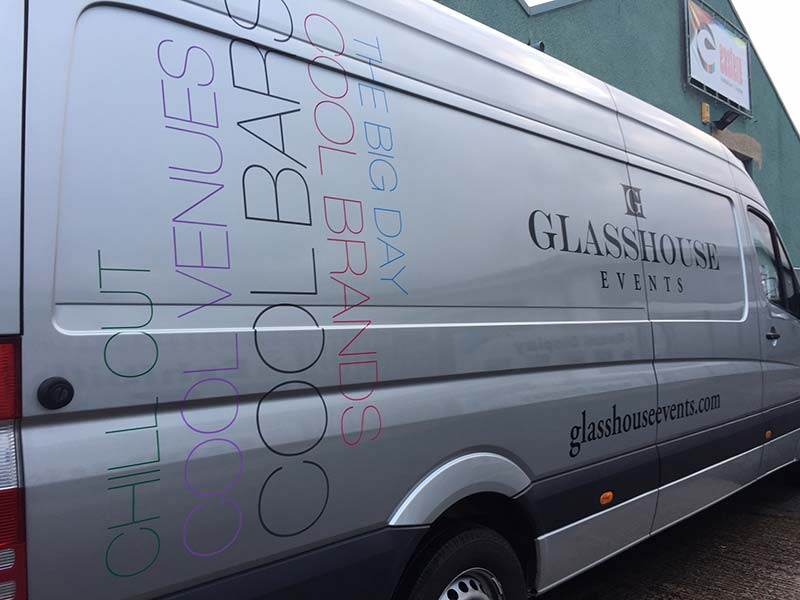 glass house events van with new lettering on the side