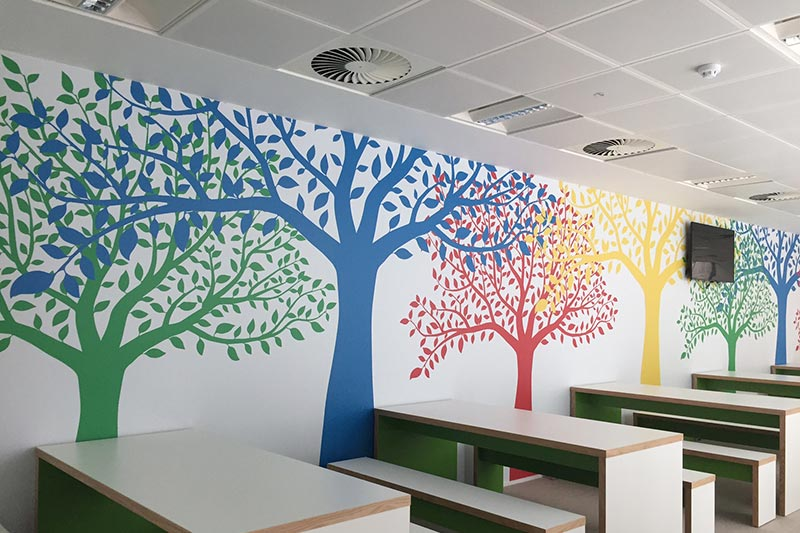 printed graphics with coloured trees