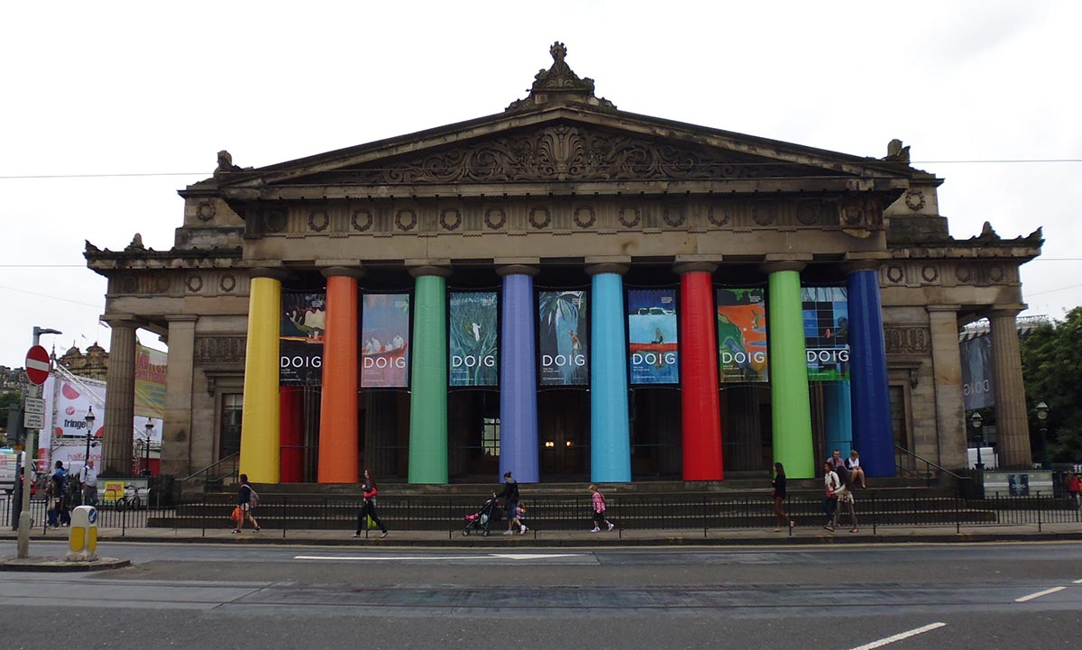 colourful banners outside the scottish national gallery in edinburgh