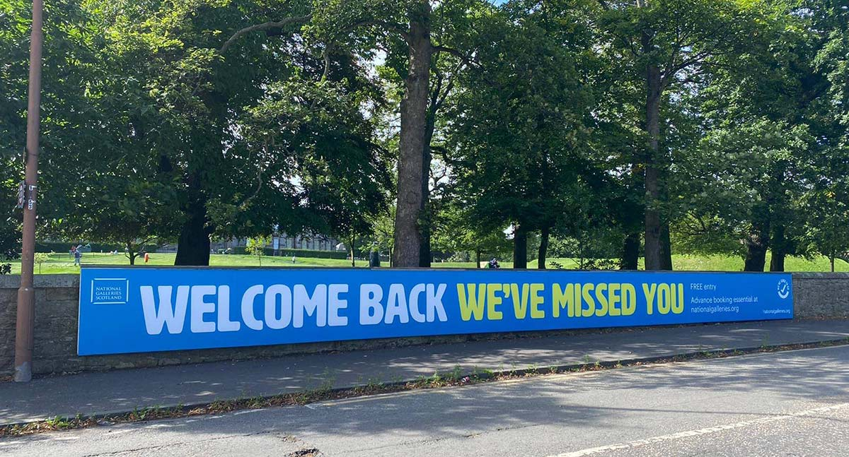 welcome back banner for the scottish national gallery