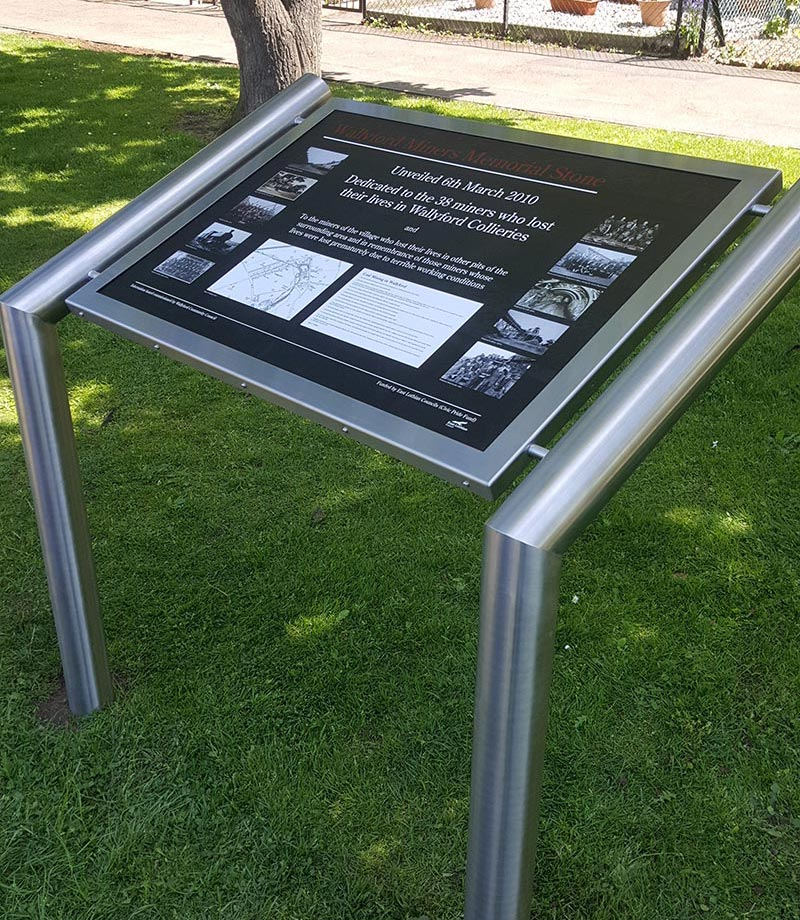 sign with info about the wallyford miners memorial stone