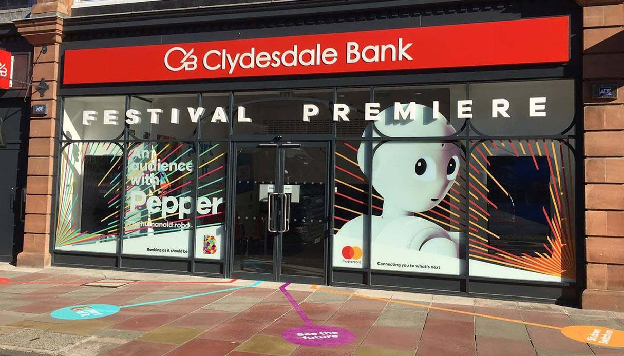 floor graphic signs outside the clydesdale bank