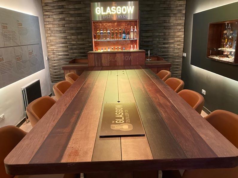 Glasgow Distillery Tasting Room main table