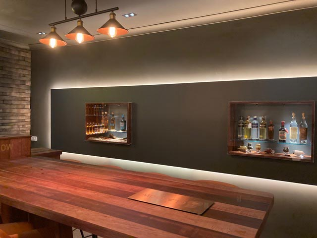 tasting room table from the side