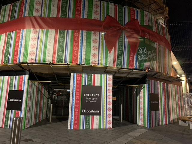 giant parcel themed building