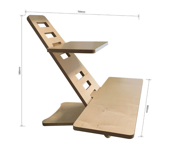 3d rendering of the standing desk with measurements