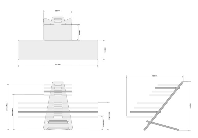 diagram of the standing desk with measurements