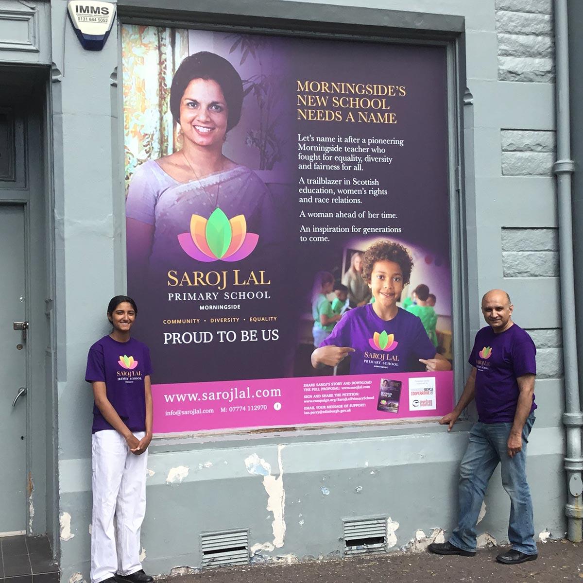 Saroj Lal Primary School campaign window poster