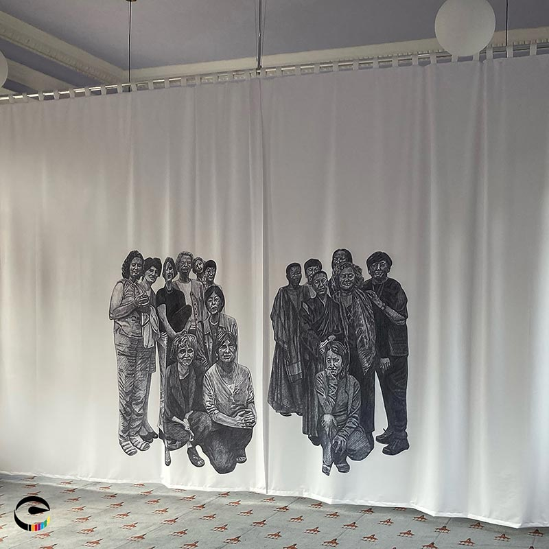 printed fabric curtain with people on it